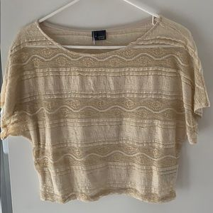 Urban Outfitters Nude Lace Crop Top w Gold Detail